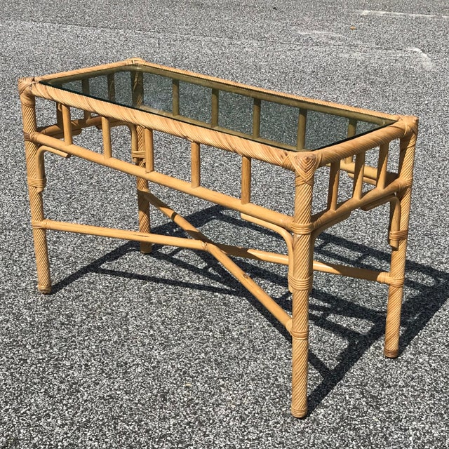Late 20th Century Vintage Boho Chic Reeded Rattan Console Table With X Base & Inset Glass For Sale - Image 5 of 5