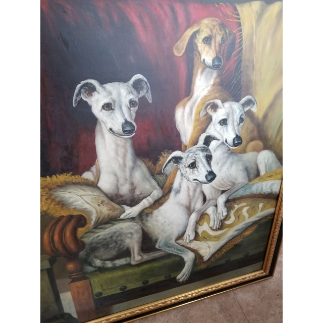 Canvas Maitland Smith-Style Greyhound Dog Painting For Sale - Image 7 of 10
