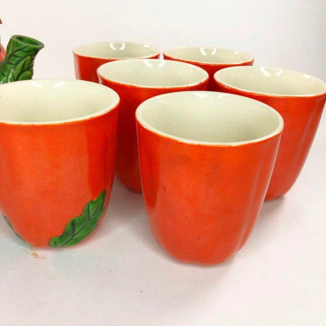 1960s Mid-Century Japanese Tomato Teapot & Cups - Set of 7 For Sale In Atlanta - Image 6 of 8