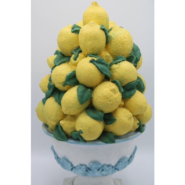 Mid 20th Century Tall Vintage French Lemon Topiary Basket / Centerpiece For Sale - Image 5 of 11