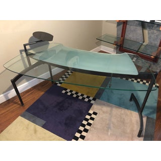 1980's Memphis Postmodern Glass and Steel Curved Desk Preview