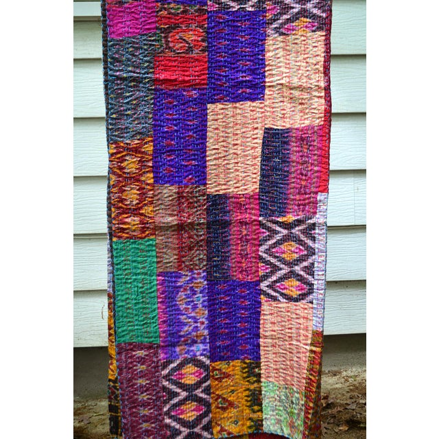 Handmade Woven Silk Sari Pieces Kantha Quilt - Image 4 of 8