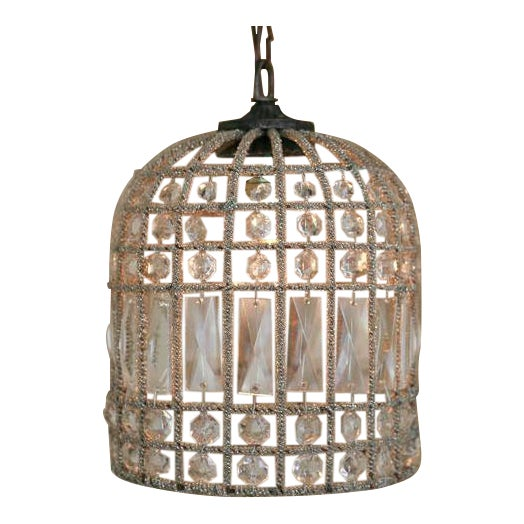 Small French Beaded Birdcage Chandelier For Sale