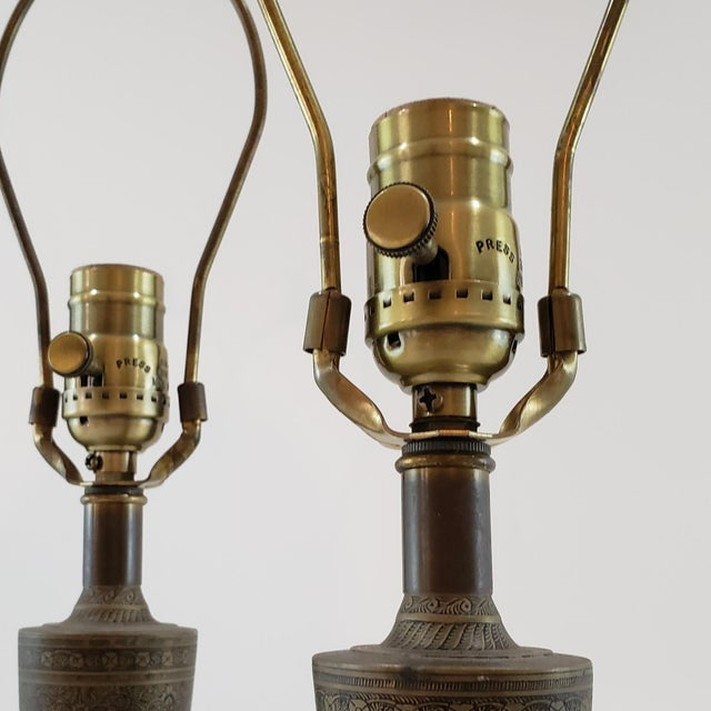 Mid-Century Arabesque Brass Lamps - a Pair For Sale - Image 9 of 13