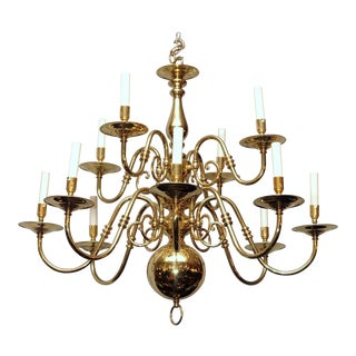 English Williamsburg Style Twelve Light Brass Chandelier For Sale