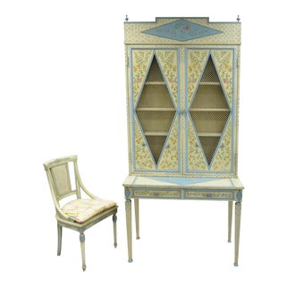 Vintage Custom Painted Italian French Regency Style Tall Secretary Desk & Chair For Sale