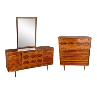 Vintage Mid-Century Walnut Lowboy with Mirror & Highboy - A Pair For Sale