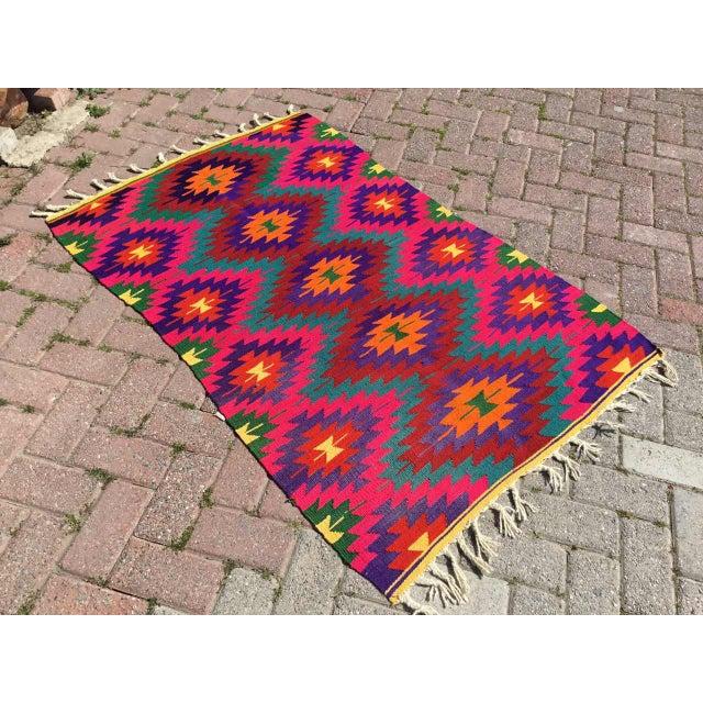 Hot Pink Turkish Kilim Rug For Sale - Image 10 of 10