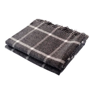 Contemporary Windowpane Grey Throw For Sale