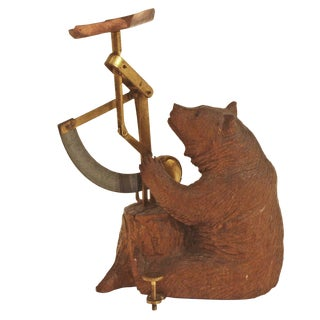Carved Wooden Black Forest Bear Postal Scale For Sale
