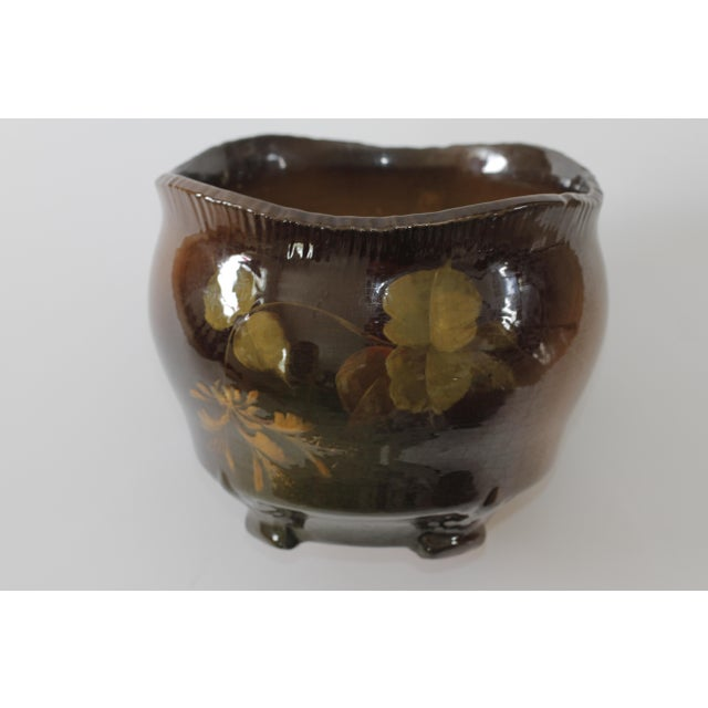 Vintage Brown Ceramic Footed Planter Cachepot Jardiniere With Leaves and Flowers - Image 2 of 11