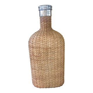 Antique Early 1900's French Wicker & Glass Flask For Sale