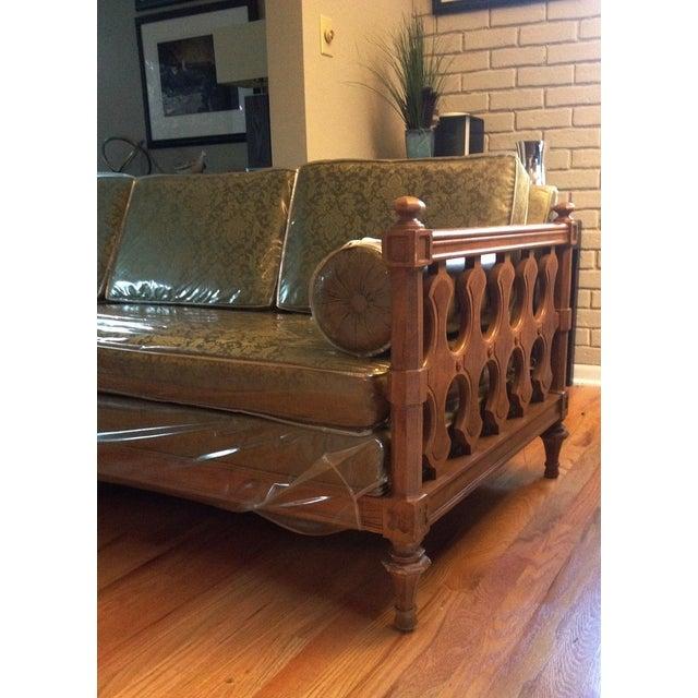 American of Martinsville Burl Panel Arm Sofa - Image 4 of 10
