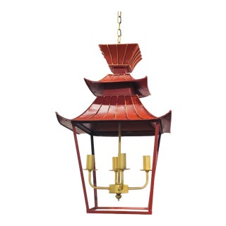 Vintage Red and Gold 4-Light Pagoda Lantern For Sale