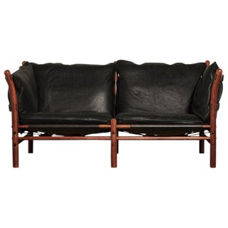 Rare Arne Norell Ilona Sofa in Black Leather, Sweden, 1970s For Sale