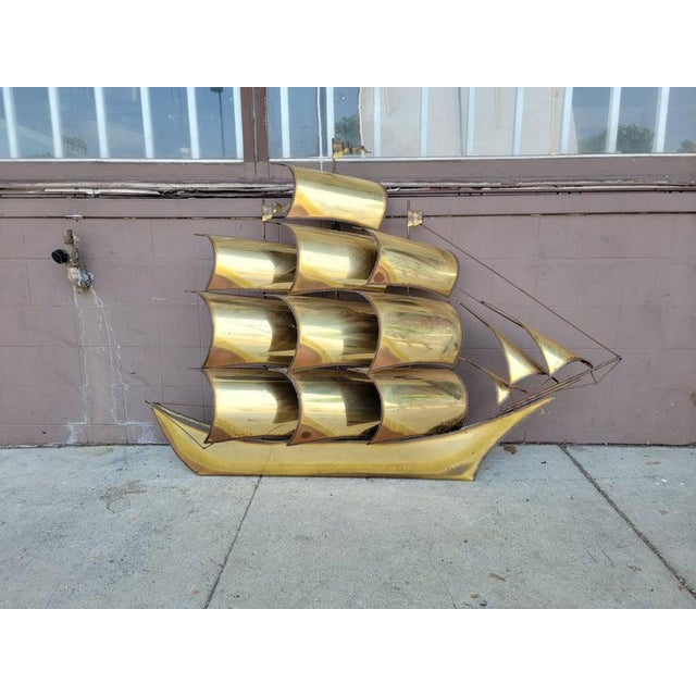 1970s Vintage Brass Ship Sculpture For Sale In Los Angeles - Image 6 of 13