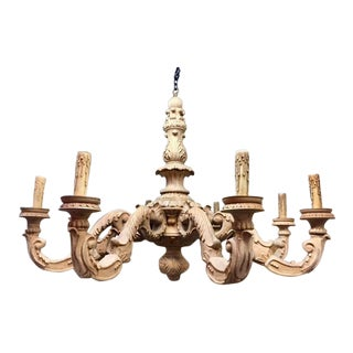 Chandelier- Hand Carved Wood For Sale