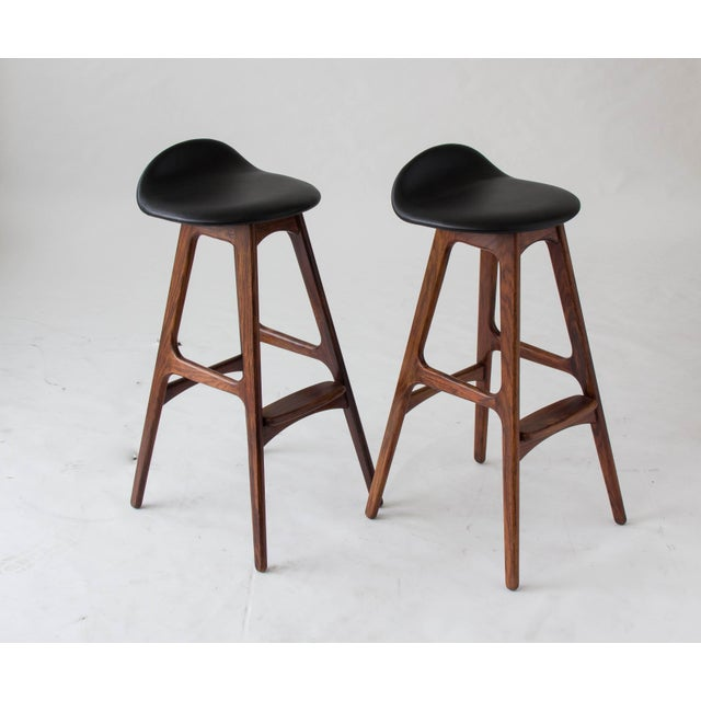 Erik Buch for O.D. Møbler Rosewood & Leather Bar Stools- A Pair - Image 3 of 6