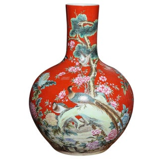Vintage Kendi Style Hand-Painted Porcelain Vase With Birds, Circa 1950 China For Sale