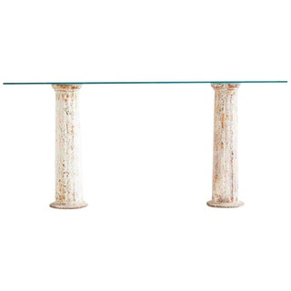 Neoclassical Iron Column Console or Sofa Table For Sale