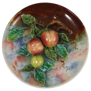 19th Century French Country Majolica Apricots Platter