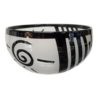1994 Steven Correia Black/Frosted Cased Glass Sun/Stripe Motifs Bowl For Sale