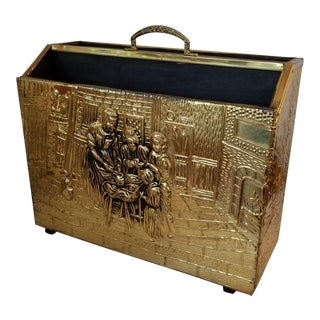 20th Century English Traditional Brass Repousse Magazine Rack For Sale