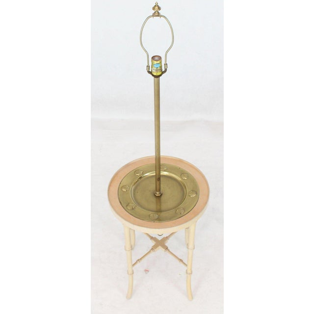 Fredrick Cooper Chicago Faux Bamboo White Wash Finish Brass Table Lamp For Sale - Image 4 of 12