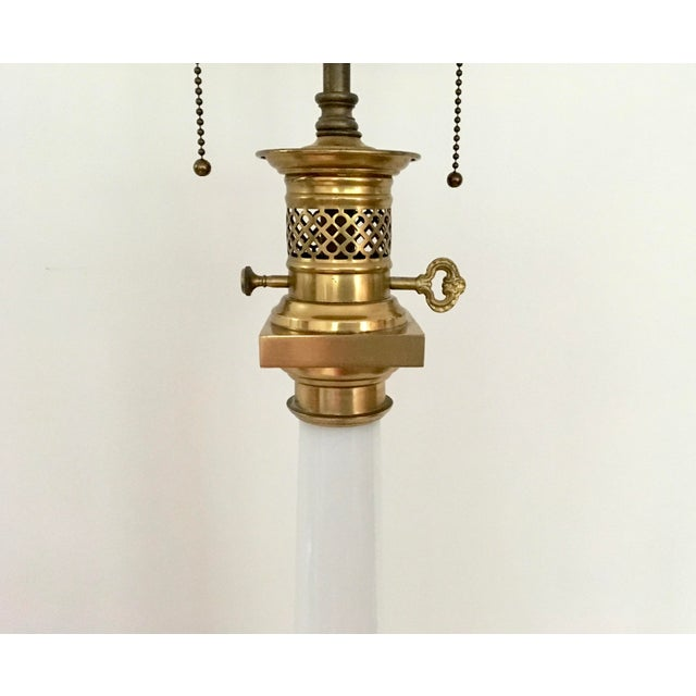 1950s Warren Kessler Nyc White Milkglass Opaline Table Lamp For Sale - Image 9 of 12