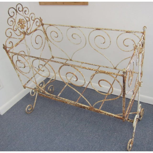 Victorian Antique Wrought Iron Scrollwork Crib - Image 7 of 7