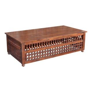 Moorish Teak Lattice Coffee Table For Sale