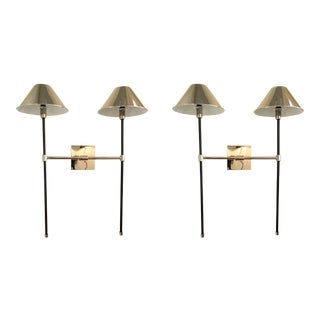 Arteriors Modern Polished Nickel and Bronze Finished Havana Sconces - A Pair For Sale