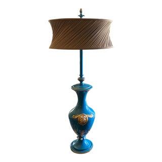 Italian Ceramic Aqua Blue Table Lamp For Sale