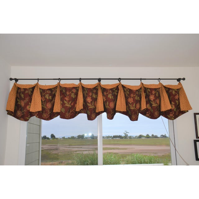 Custom made beautiful floral red and gold scalloped valance with embroidered red floral print with gold and green which is...