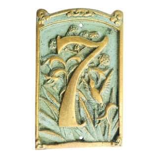 Vintage « 7 » Plaque House Number Brass