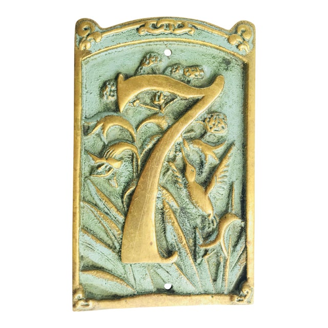 Vintage « 7 » Plaque House Number Brass For Sale