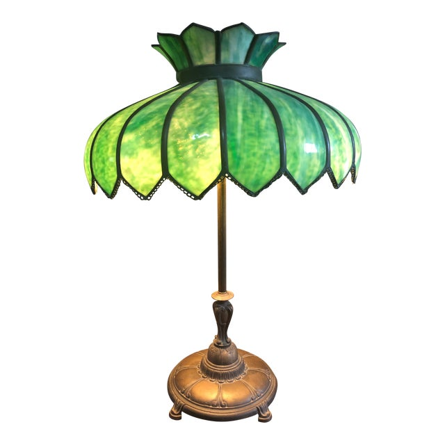 Vintage Green Leaded Glass and Brass Large Table Lamp For Sale