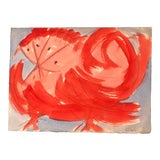 """Image of Vintage Original Robert Cooke Abstract """"Crazy Chicken """" Painting For Sale"""