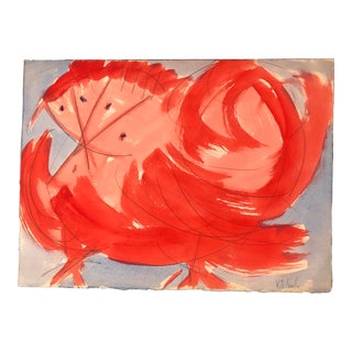 "Vintage Original Robert Cooke Abstract ""Crazy Chicken "" Painting For Sale"