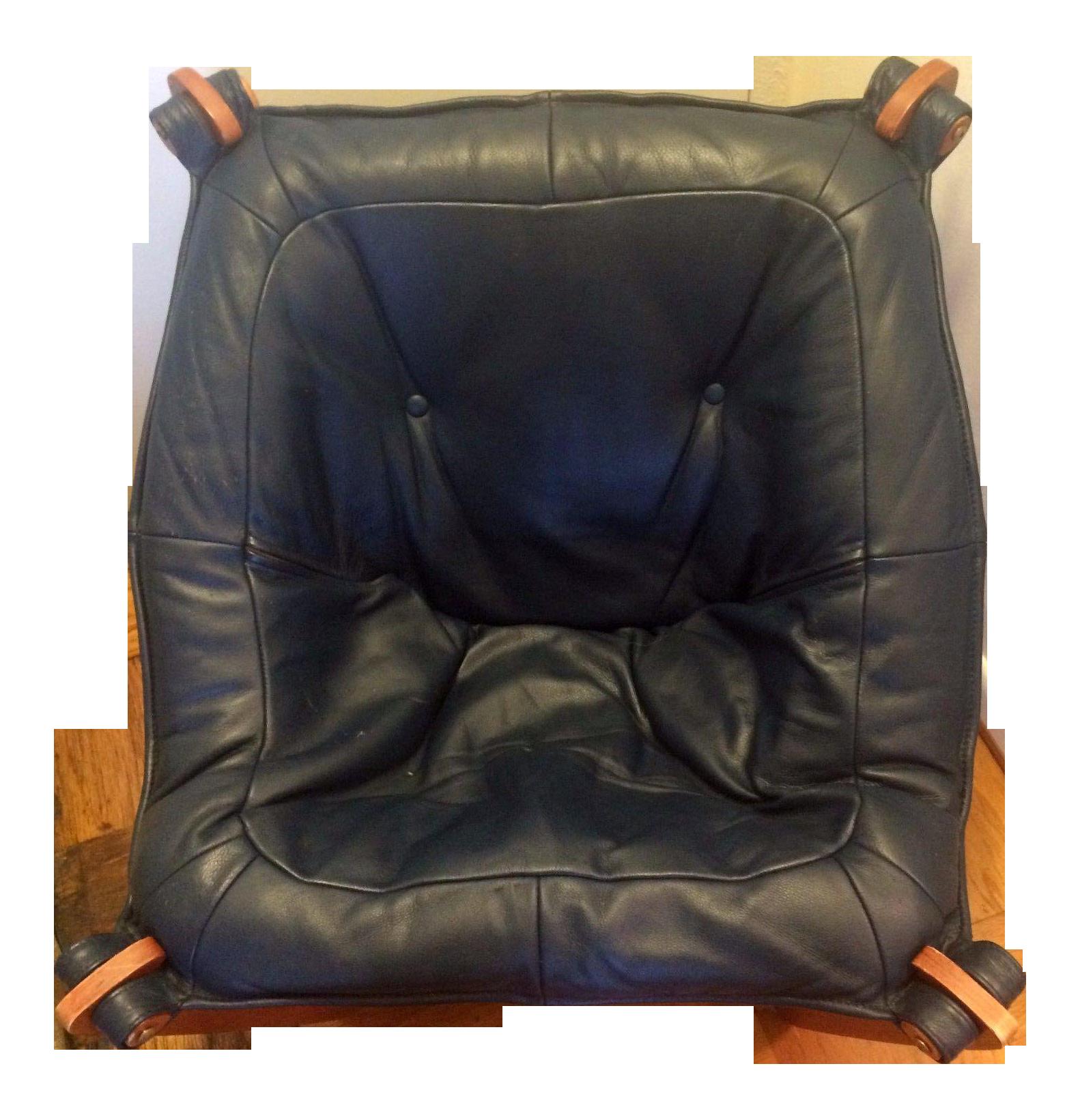 Vintage Luna Mid Century Danish Modern Leather Sling Chair