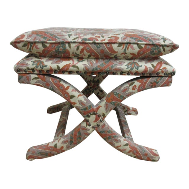 Custom Upholstered Ottoman Stool For Sale