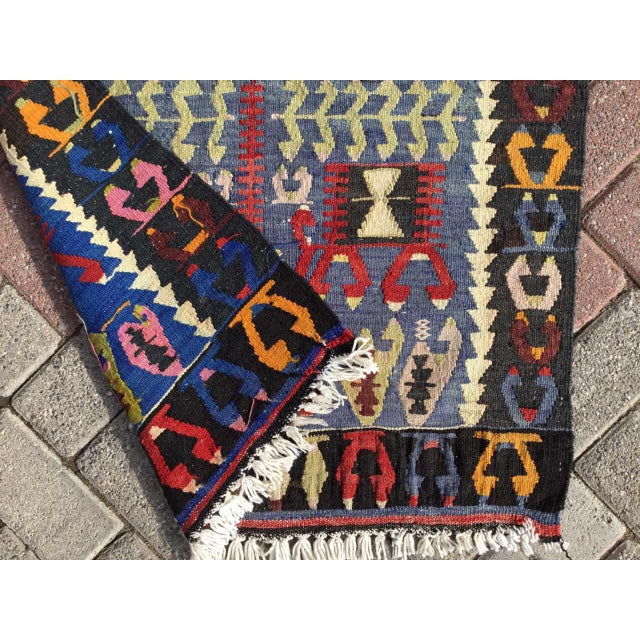 Red Vintage Turkish Kilim Rug For Sale - Image 8 of 9