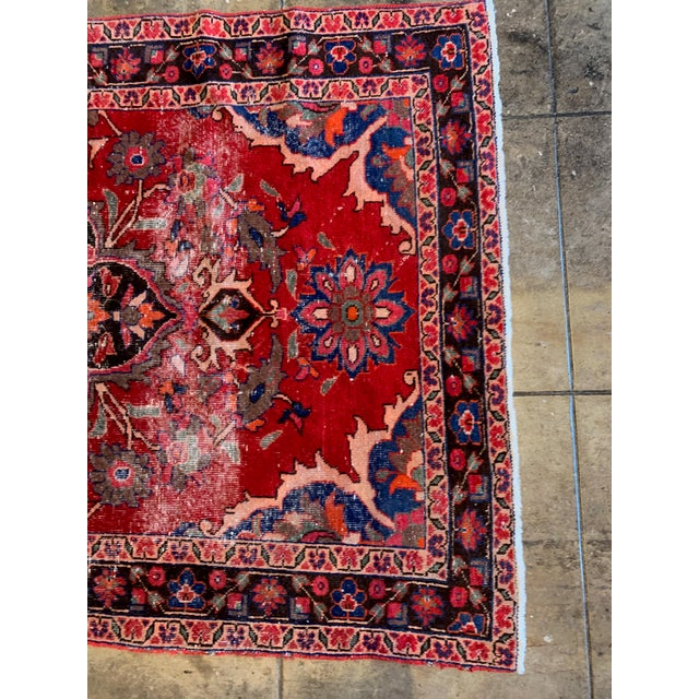 """Rich Tones Vintage Persian Area Rug - 9' 8.5"""" X 5' For Sale - Image 4 of 7"""