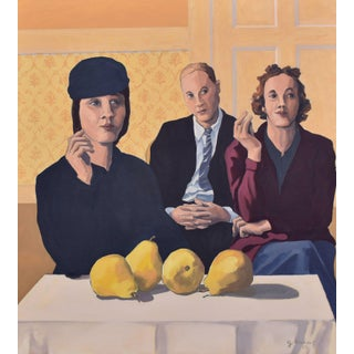 'The Critics' Satirical Group Portrait and Still Life in Oil on Linen Painting by Contemporary Expressionist George Brinner For Sale
