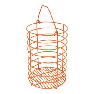 Vintage Orange Round Wire Hairbrush Storage Basket For Sale
