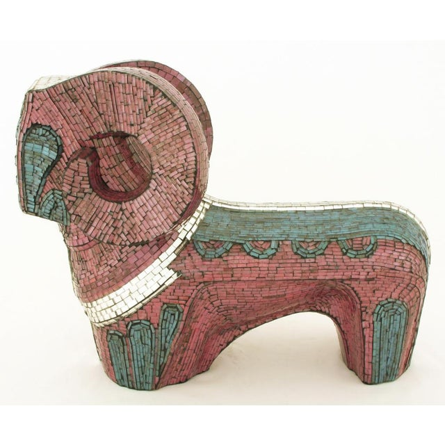 Abstract Abstract Ram Sculpture Clad In Miniature Glass Mosaic For Sale - Image 3 of 7