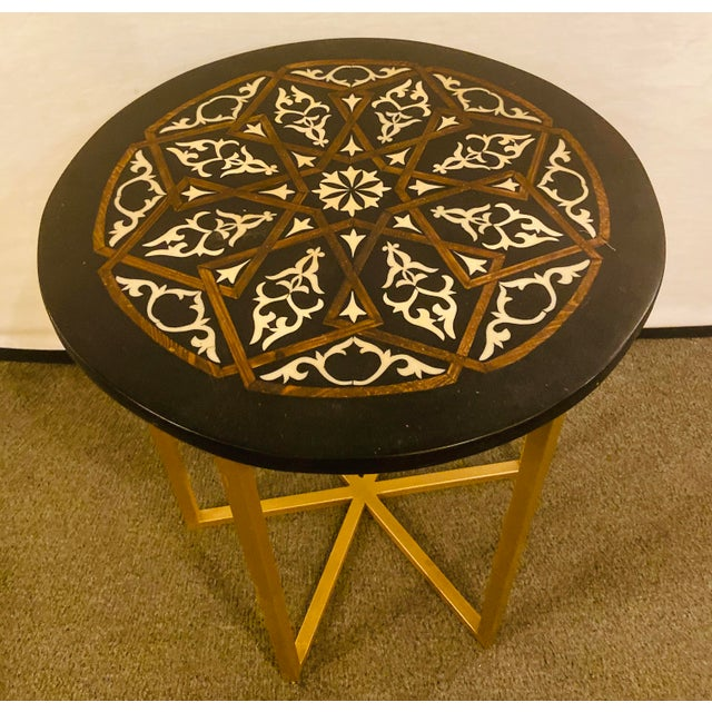 Moroccan Brass Side Table For Sale - Image 4 of 13