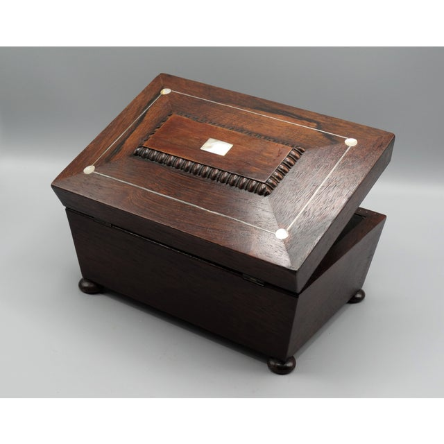 Blue Antique French Rosewood Box With Mother-Of-Pearl For Sale - Image 8 of 8