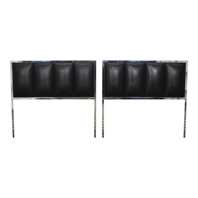 Milo Baughman Mid Century Modern Pair of Chrome & Black Faux Leather Twin Headboards - Image 1 of 11