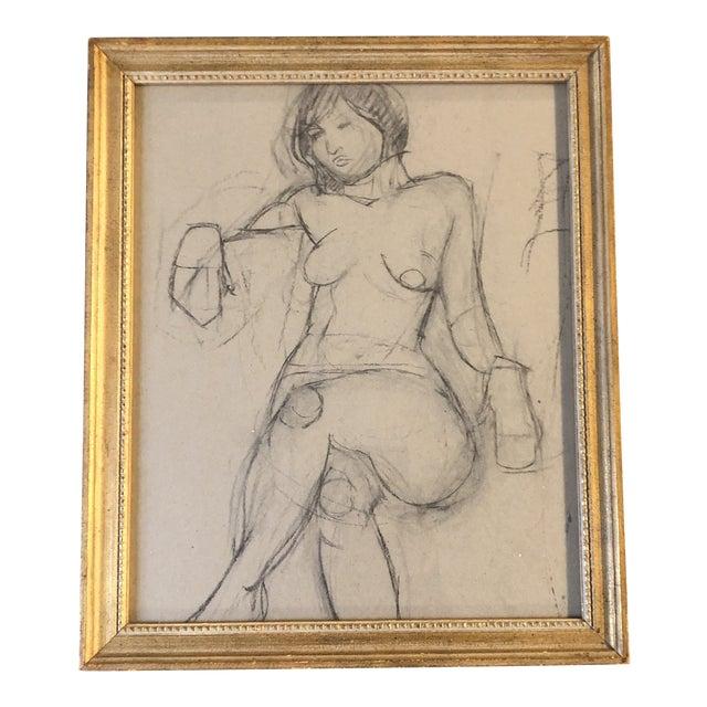 Vintage Modernist Female Nude Charcoal Study Drawing Vintage Gilt Frame For Sale